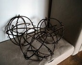 Industrial Steampunk Metal Decorative Spheres - Set of three