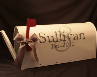 Wedding Mailbox- Card Box - Standard USPS size - White - Both Sides Decorated