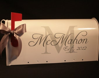 Wedding Mailbox- Custom Card Box - Standard USPS size - Personalized - Block Initial and Script Name