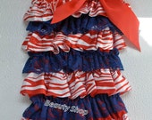 4th July red white blue Posh Petti Ruffle Romper S M L XL (new born to 5 years old)