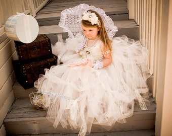 bride flower girl TuTu dress, baby TuTu, perfect for pictures. available 24 M - young girl