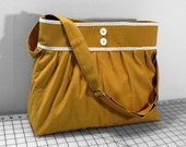 Adjustable Strap Tote Bag with Lace and Buttons in Mustard Yellow