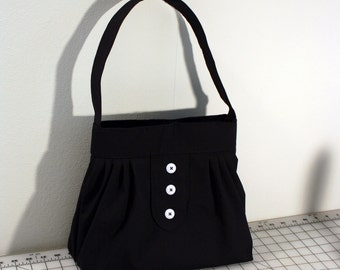 Everyday Bag with Pleats and Buttons in Black