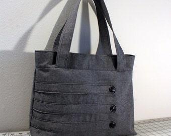 Medium Tote Bag with Decorative Straps in Dark Gray