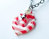 Anchor Necklace Striped Anchor Rockabilly Pin Up Red White Stars Pearl Gunmetal Nautical July 4th