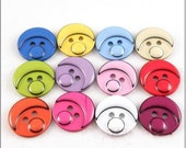 Plastic buttons -  (20pcs,0.6 inch)Baby face resin buttons, twelve color can be chosen