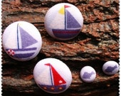 Handmade Fabric Buttons  -  Ocean series button   sailing  and   fish combination (5Pcs, the  big  1.1inch  the  small 0.47 inch)