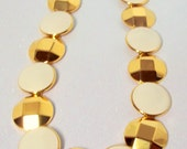 Vintage Monet Necklace Gold and White Circle Disc Metal