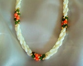 Vintage Mother of Pearl Necklace with Jade and Coral Accents