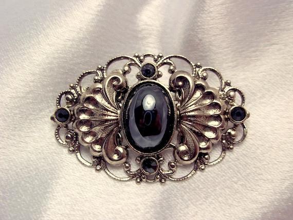 Vintage Victorian  Silver and Black Brooch