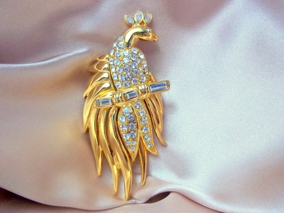 Vintage Peacock Brooch by Monet Gold and Rhinestone