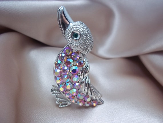 Vintage Coro Duck Brooch with Pink Aurora Borealis and Silver