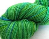 Hand dyed sock yarn, green sock yarn, handdyed yarn, fingering weight, green yarn