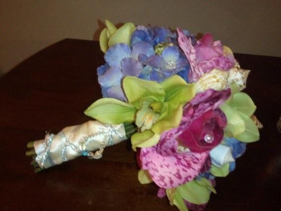 SALE  Beach Wedding Silk Flower and Seashell Bouquet