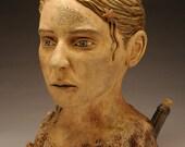 Seashore Figure, painted ceramic bust