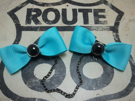 Blue Bow Sweater Clips with Black Pearl Accents