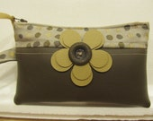 Taupe and Pale Gold Wristlet with Flower