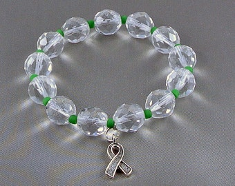 Cerebral Palsy Awareness Bracelet, Stretch Bracelet with Hope Ribbon Charm, with Donation