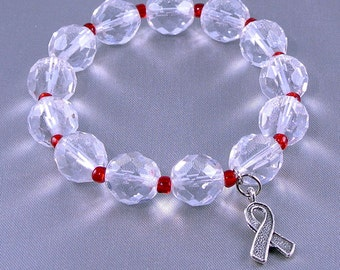 ALS Awareness Bracelet (Lou Gehrig's Disease) with Hope Ribbon Charm, with Donation