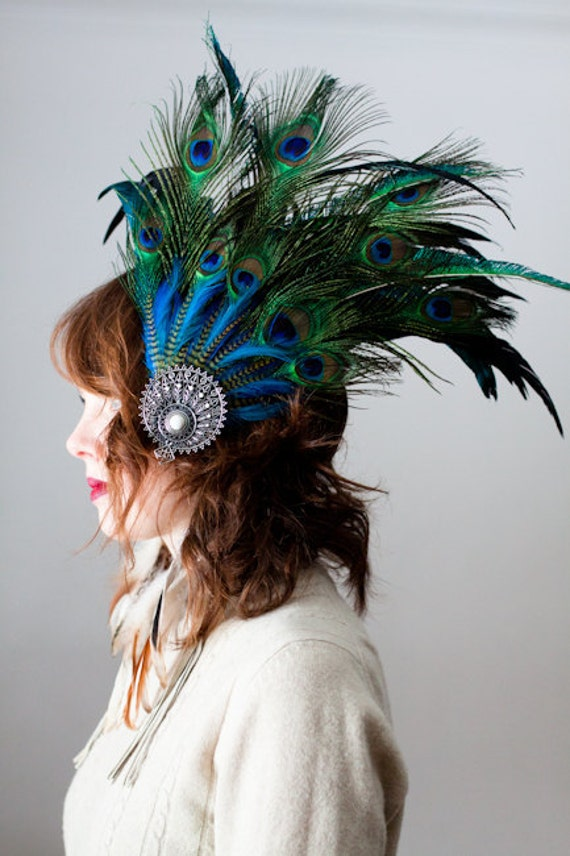 Tribal, burlesque, peacock and rooster feather head piece