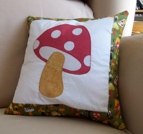 """Mushroom Pillow - Red and Green Toadstool Hippie Accent Pillow Cushion Includes 12""""x12"""" Pillow Insert"""