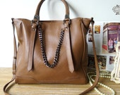 Large Leather Tote Bag - Shopper Bag - Handbag in Retro Brown - leeloongstudio
