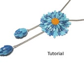 Tutorial. Blue flower polymer clay pendant.