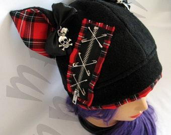 Kawaii Black-Plaid Punk-Lolita Cosplay Hat with Removable Bows & Skulls