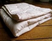 Modern baby cot quilt: purple/pink Japanese Nani Iro Fuwari fabric