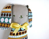 Blue and Brown Polka-Dot Bunny Softie - Easter Gift