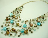 Blue and brown freshwater pearl hand knotted silk necklace