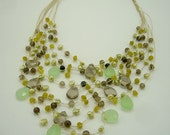 SET NECKLACE and EARRING multi strand smoky quartz,peridot,freshwater pearl on silk thread.
