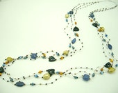 Long necklace lapis,freshwater pearl,crystal,beads hand knotted on silk thread.