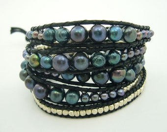Natural freshwater pearl,beads and coin charming with leather bracelet
