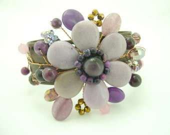Flower aventurine,amethyst and crystal with gold plated brass wire on leather cuff bracelet
