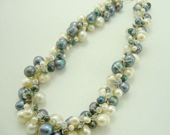 Bridal wedding grey mix white color freshwater pearl,crystal on silk thread necklace.
