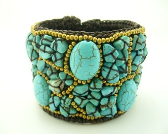 Turquoise and beads with wax cotton bangle
