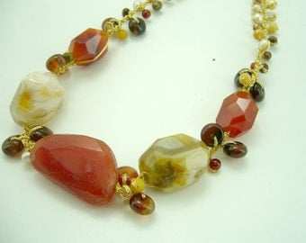 Carnelian,tiger pearl,freshwater pearl on silk necklace