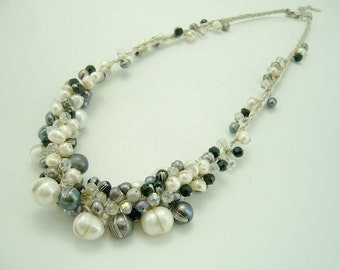Light black and white freshwater pearl with crystal on hand-knotted silk thread necklace