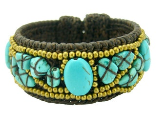 Turquoise and brass beads knitting crochet wax cotton bangle