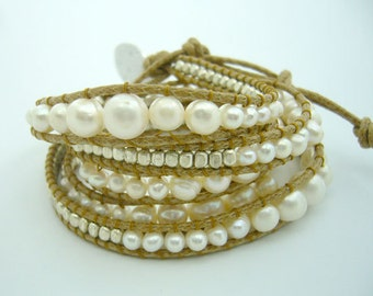 White freshwater pearl hand-knotted on leather long bracelet