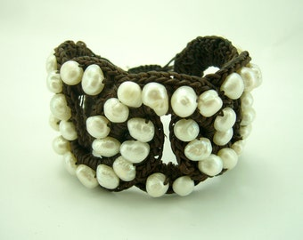 Knitting crochet with wax cotton white freshwater pearl bracelet
