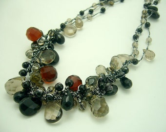 Smoky quartz,onyx,crystal hand knotted on silk thread
