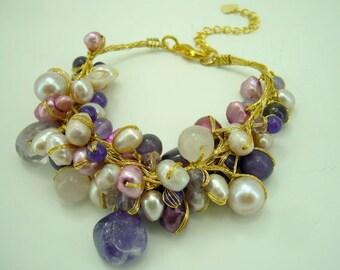 Amethyst,freshwater pearl,rose quartz with silk thread bracelet