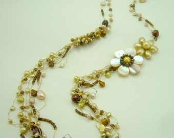 Yellow flower freshwater pearl long necklace