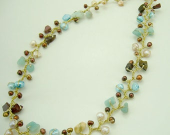 Knitting crochet silk with jasper,freshwater pearl,amezonite necklace