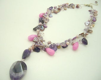 Amethyst,pink shell,crystal hand knotted on silk thread pendant