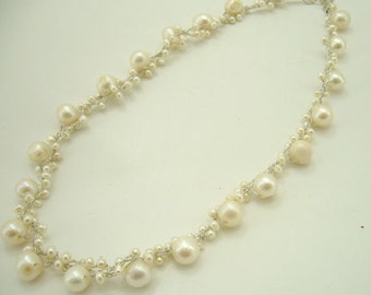 Wedding bridal, bridesmaid white freshwater pear knitting on silk thread necklace