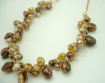 Brown freshwater pearl,crystal hand knotted on silk necklace