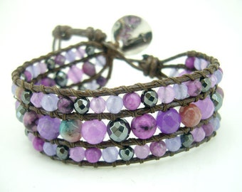 Purple agate,hematite,rose quartz silver charm wrapped leather bracelet.